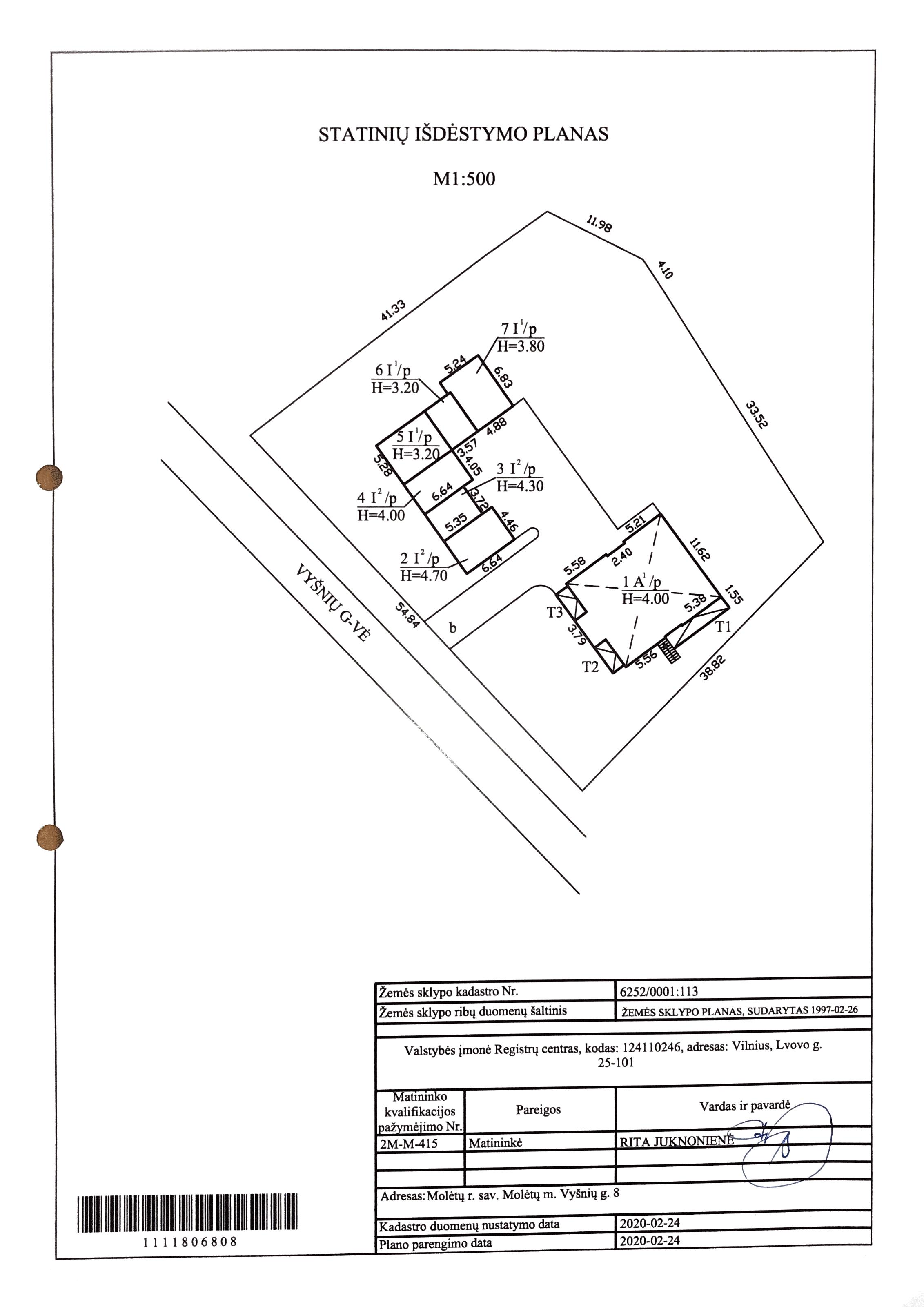 Statinių išdėstymo planas